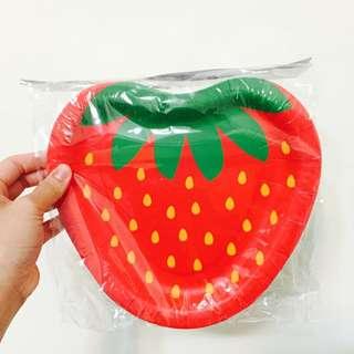 FlyingTiger草莓造型派對用紙盤8入