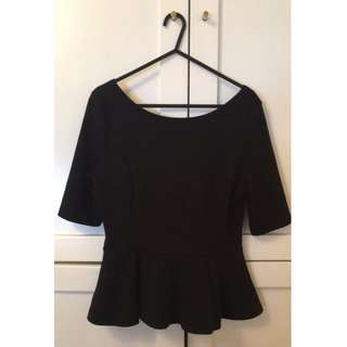 Black Peplum top MED