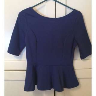 Blue Peplum top MED