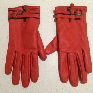 Genuine Red Leather Gloves with soft lining - Medium size