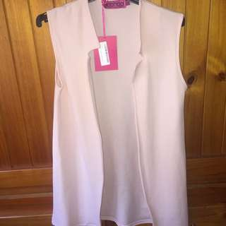 Nude Sleeveless Duster Vest