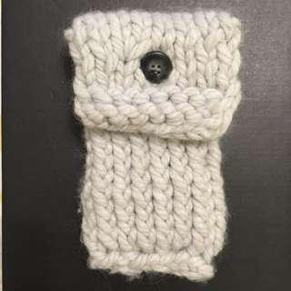 iPhone 手機包 手工 編織 白灰