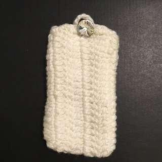 iPhone 5/6 手工編織包 手機包 白 手機