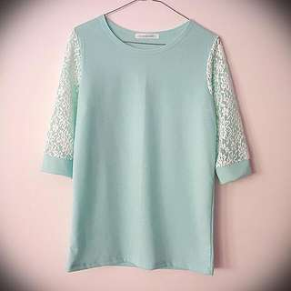1/2 Lace Sleeves Mint Green Top