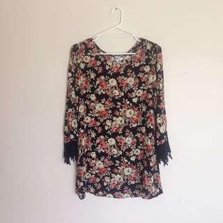 Vintage Floral Print Long Sleeve Shirt Dress Glamorous