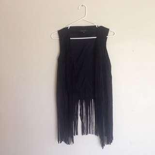 New Look Black Suede Tassel Fringe Boho Vest Waistcoat Size 16