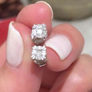 Unique 14ct White Gold and Diamond Cluster studs with Heart Shape Claws