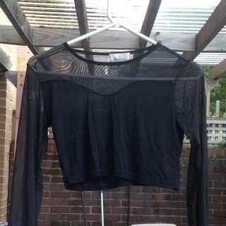 Mesh Sleeved Black Crop Top