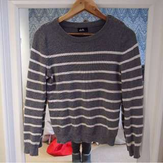 Dotti Grey and White Striped Jumper - Size S