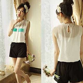 Charming Bow Design Top with Shorts
