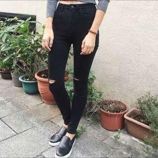 超顯瘦高腰破褲黑色