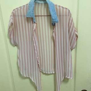 「二手」直條粉色小罩衫
