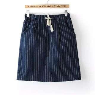 Striped Denim Elastic Skirt (Brand New)
