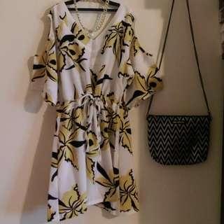 韓國 挖肩 棉麻 洋裝