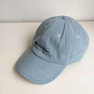 日本購回 Champion 聯名 限定款 電繡 草寫Logo 復古 老帽 彎帽 鴨舌帽 藍色 淺藍 牛仔 丹寧 單寧