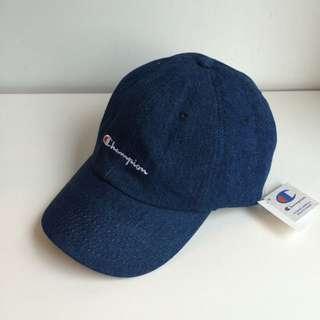 日本購回 Champion 聯名 限定款 電繡 草寫Logo 復古 老帽 彎帽 鴨舌帽 藍色 深藍 牛仔 丹寧 單寧