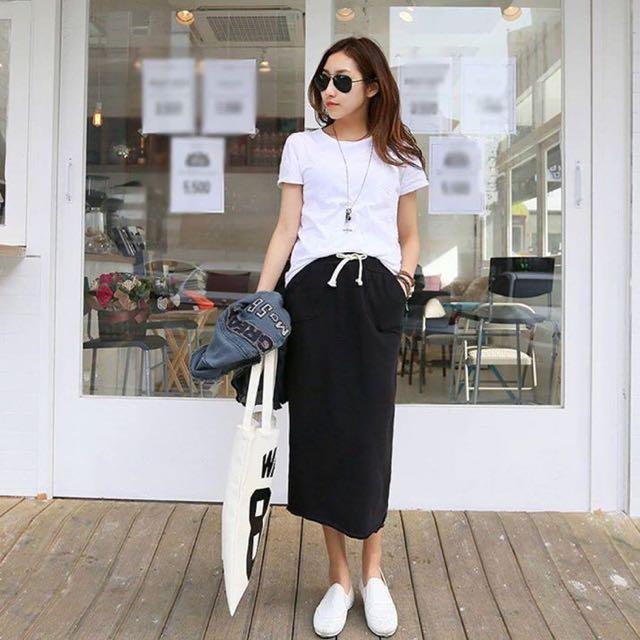全新 黑色棉質彈性長裙