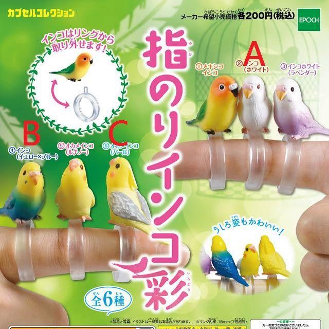 扭蛋 迷你鸚哥造型指環-彩篇 鸚鵡 鳥 轉蛋