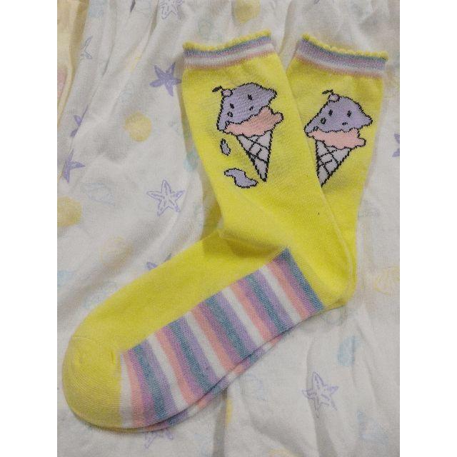 冰淇淋 軟妹 拼色 粉嫩 中筒 花邊 長襪 可愛 日本帶回 日系 原宿