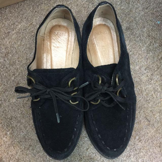 全真皮 二手 Pazzo 黑色鬆糕鞋