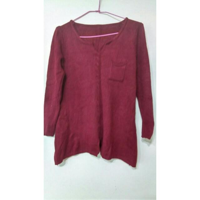 酒紅針織衫  #  顯瘦 好搭 毛衣 長袖