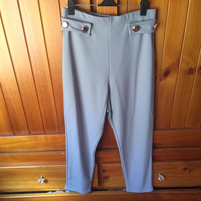 Button Cigarette Trouser Grey Size 8