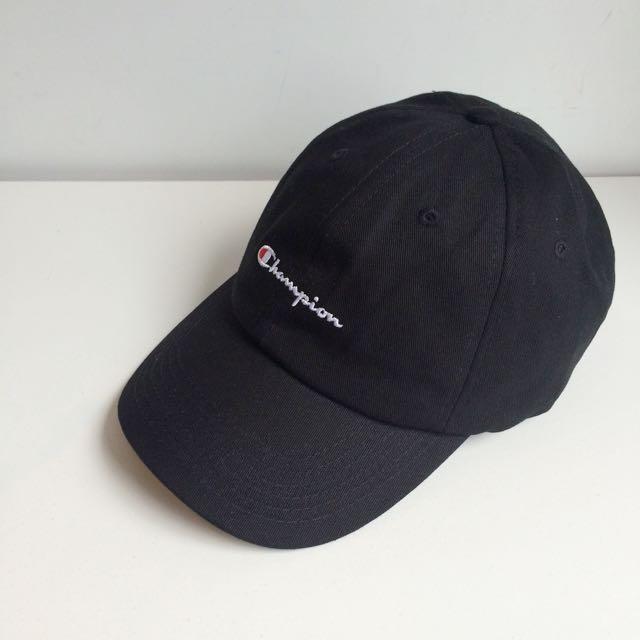 日本購回 Champion 聯名 限定款 電繡 草寫Logo 復古 老帽 彎帽 鴨舌帽 黑色
