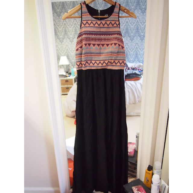 Dotti Black & Multi Coloured Maxi Dress - Size 8