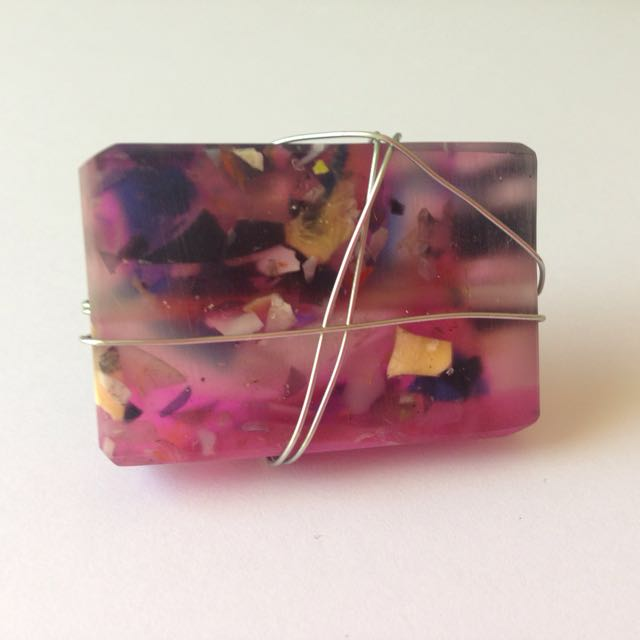 Handmade Ring Large Abstract Wire Wrapped Resin Statement
