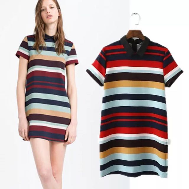 556837a6 (PO) Zara-Inspired Striped Fitted Polo T-shirt Dress, Women's Fashion on  Carousell