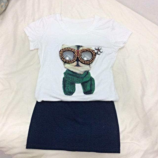 [出清]可愛T-shirt+短裙