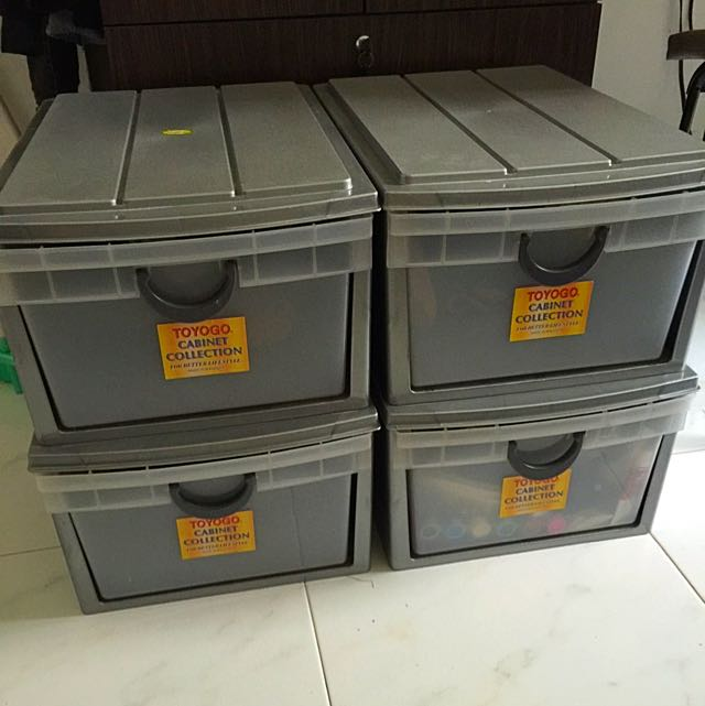 x4 Stackable Plastic Drawers