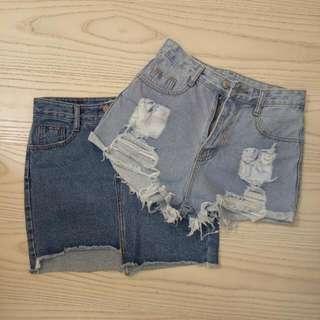 高腰大破淺色短褲/高腰設計款單寧窄裙