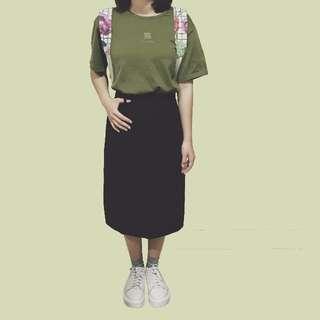 *現貨*全黑古著過膝裙直筒包臀窄裙日本復古vintage開叉