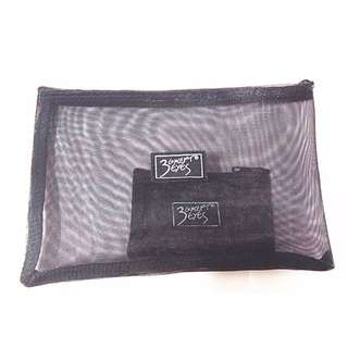 3CE潮排logo 透明化妝袋 收納包  大小一組