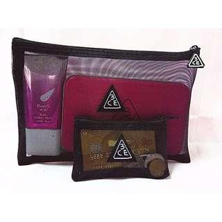 現貨3CE 透明化妝袋 收納包  大小一組