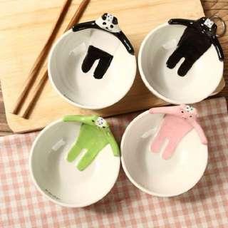 Laipi小物*創意可愛日式動物造型碗/杯子 手繪陶瓷兒童碗早餐碗卡通飯碗甜品碗家用餐具 熊貓碗 青蛙碗 小豬碗