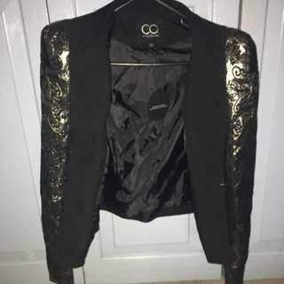 CO Black Blazer W Gold Floral Sleeves