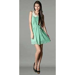 Fashion Martini Dixie Scallop Collared Dainty Dress (Mint)