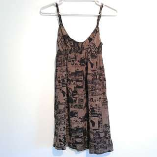 Size 8 Punk Rock print A-line silk dress
