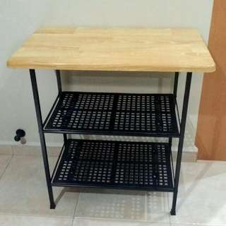 Wooden Table Top With 2 Tier Shelf
