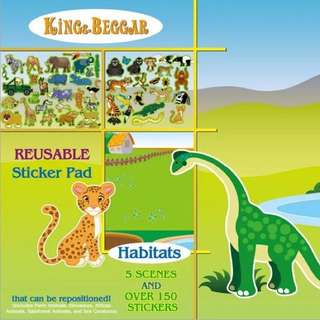 益智美國兒童卡通貼紙畫 可重複靜電貼2到6歲 寶寶場景貼紙書