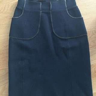 Scanlan Theodore Crepe Skirt 8 Navy Leather Trim