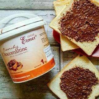 Selai Crunchy chcomaltine chocolate elmer ukuran 1 kg dan pengiriman hanya menggunakan TIKI Reg.