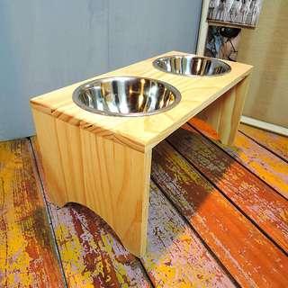 免運費(挑戰網路最低價)-原木不銹鋼寵物餐桌/中型犬寵物碗 狗餐桌/貓餐桌 無毒 無化學成份