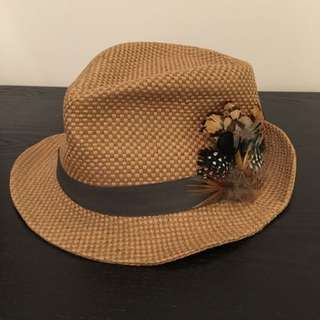 Straw Pork Pie Hat with beautiful fethers