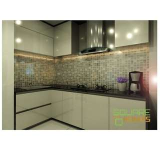 20FT TOP/BOTTOM KITCHEN CABINET + 10FT SOLID SURFACE WORKTOP @ $2888