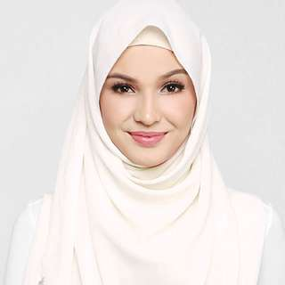 ❗️PENDING TO K__ - BN dUCk Scarf Georgette In White Chocolate