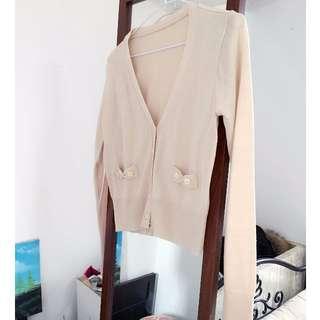 V領蝴蝶結針織小外套米色grace gift D+af Tiffany Dior Channel A&F Air space Forever21 H&m Lv Ck