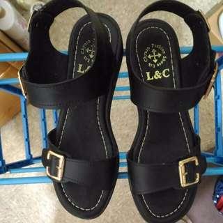 近全新 黑色百搭涼鞋